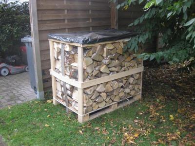 Brennholz in Kisten im Schuppen